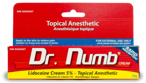 numbing cream: Dr. Numb